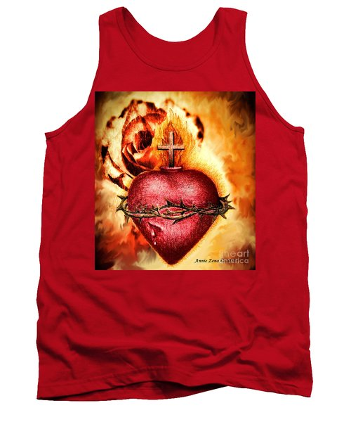 Tank Top featuring the painting Sacred Heart Of Jesus Christ With Rose by Annie Zeno