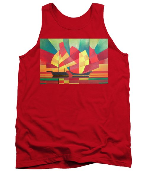 Tank Top featuring the painting Sails And Ocean Skies by Tracey Harrington-Simpson