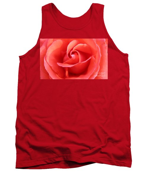 Salmon Floral Rose Abstract Tank Top by Judy Palkimas