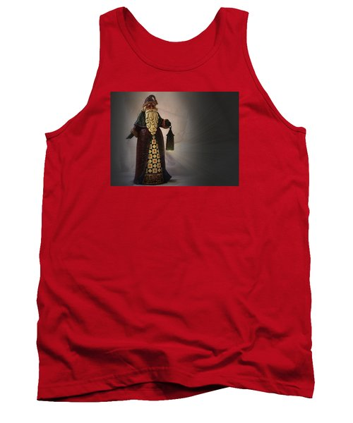 Tank Top featuring the photograph Santa With A Lantern by Nadalyn Larsen