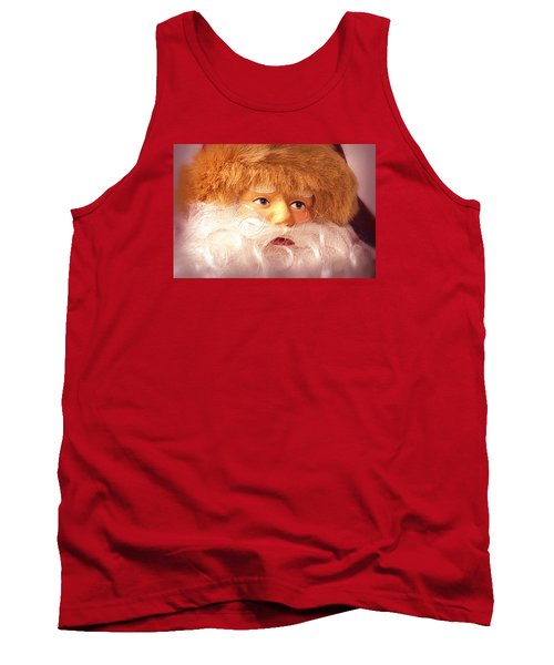 Tank Top featuring the photograph Santa With Big Blue Eyes by Nadalyn Larsen