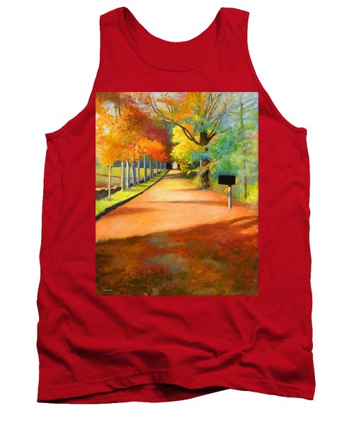 Sawmill Road Autumn Vermont Landscape Tank Top