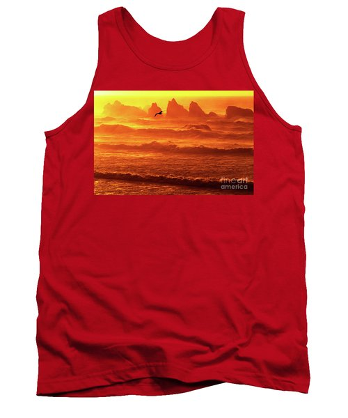 Tank Top featuring the photograph Seagull Soaring Over The Surf At Sunset Oregon Coast by Dave Welling
