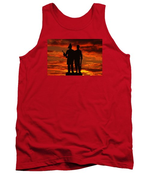 Sky Fire - 73rd Ny Infantry Fourth Excelsior Second Fire Zouaves-a1 Sunrise Autumn Gettysburg Tank Top by Michael Mazaika