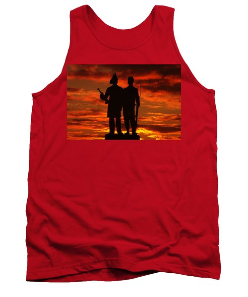 Sky Fire - 73rd Ny Infantry Fourth Excelsior Second Fire Zouaves-a1 Sunrise Autumn Gettysburg Tank Top