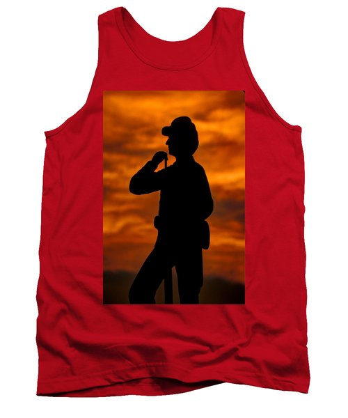 Tank Top featuring the photograph Sky Fire - Flames Of Battle 7th Pennsylvania Reserve Volunteer Infantry-a1 Sunset Antietam by Michael Mazaika