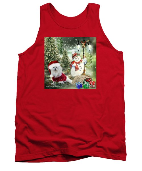 Tank Top featuring the mixed media Snowdrop And The Snowman by Morag Bates