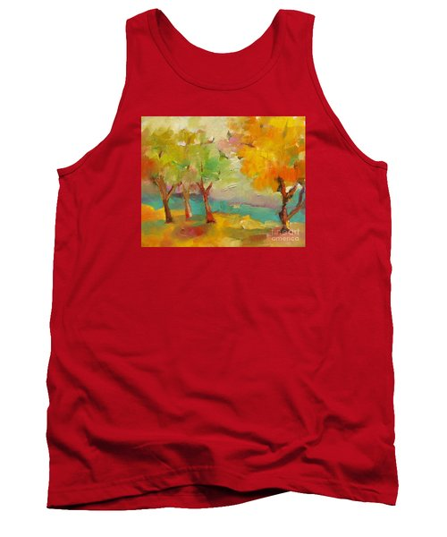 Tank Top featuring the painting Soft Trees by Michelle Abrams