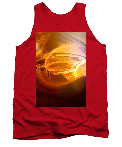 Tank Top featuring the photograph Somewhere In America Series - Gold Colors In Antelope Canyon by Lilia D
