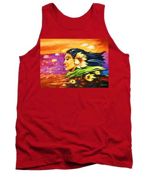 Tank Top featuring the painting South Sea Breeze  Fleeting Blossoms by Al Brown