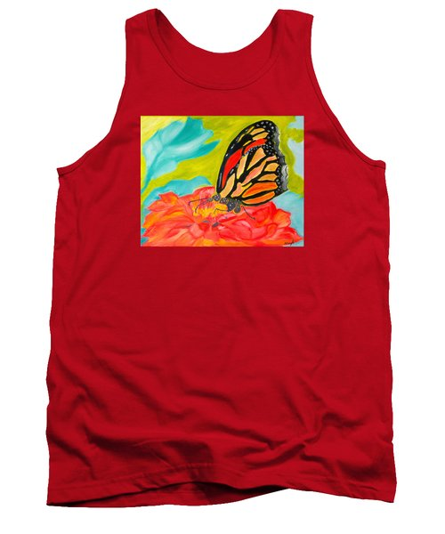 Tank Top featuring the painting Stained Glass Flutters by Meryl Goudey
