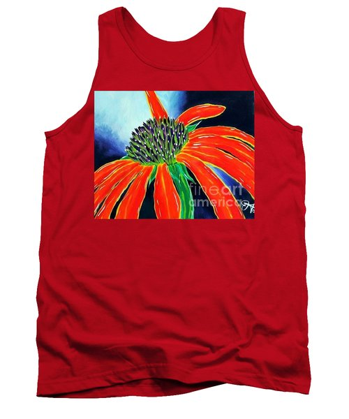 Tank Top featuring the painting Summer Kissed Cone Flower by Jackie Carpenter