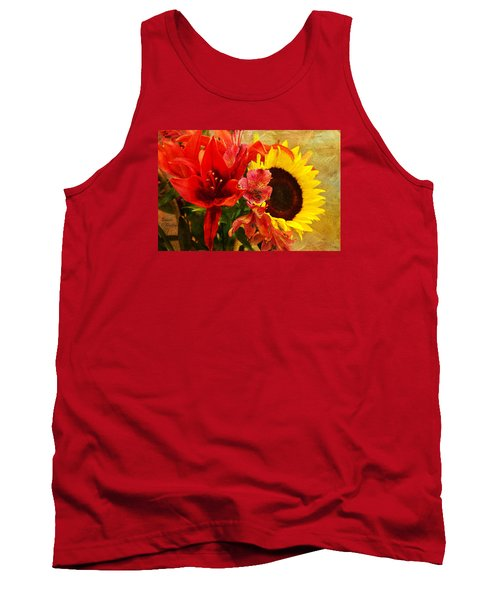 Sunflower Bouquet Tank Top by Sandi OReilly