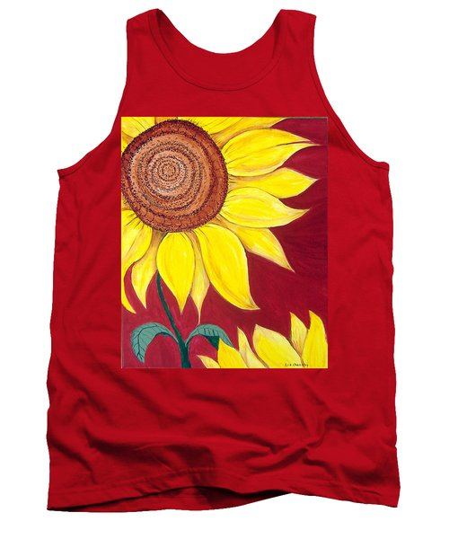 Sunflower On Red Tank Top
