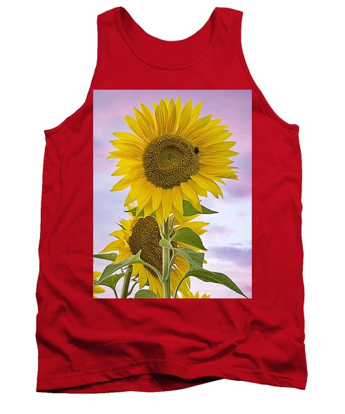Sunflower With Colorful Evening Sky Tank Top