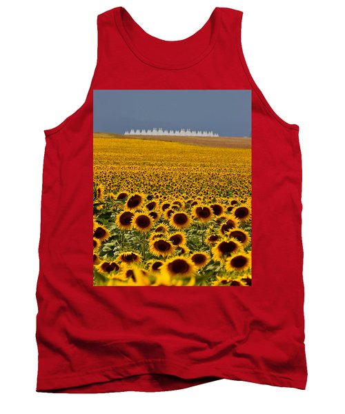 Tank Top featuring the photograph Sunflowers And Airports by Ronda Kimbrow