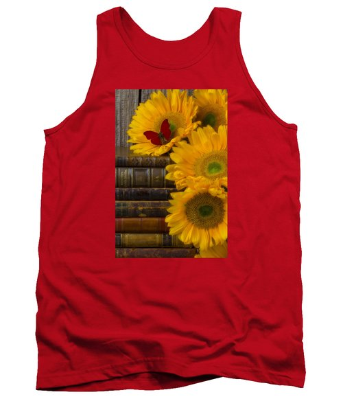 Sunflowers And Old Books Tank Top
