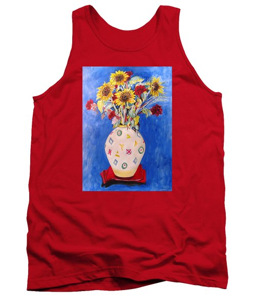 Tank Top featuring the painting Sunflowers At Home by Esther Newman-Cohen