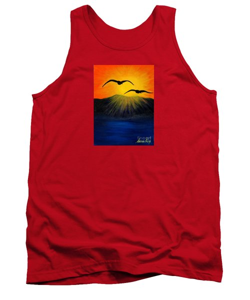 Sunrise And Two Seagulls Tank Top