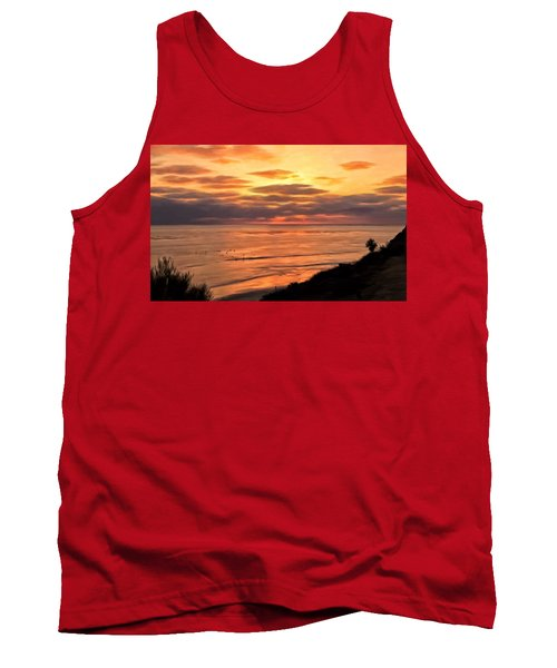 Tank Top featuring the painting Sunset At Swami's Encinitas by Michael Pickett