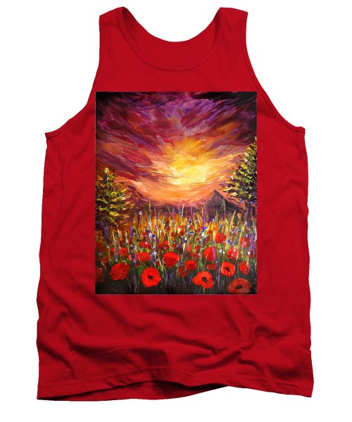 Sunset In Poppy Valley  Tank Top by Lilia D
