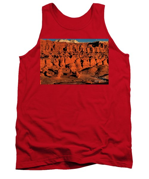 Sunset Light Turns The Hoodoos Blood Red In Goblin Valley State Park Utah Tank Top