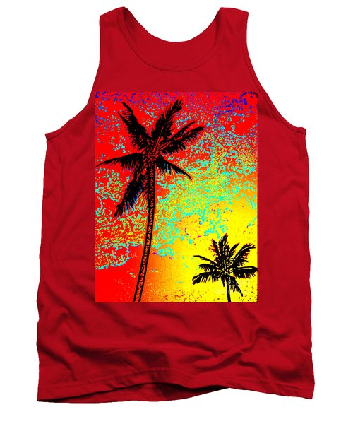 Tank Top featuring the photograph Sunset Palms by David Lawson