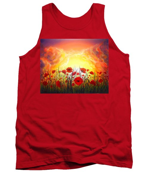 Tank Top featuring the painting Sunset Poppies by Lilia D