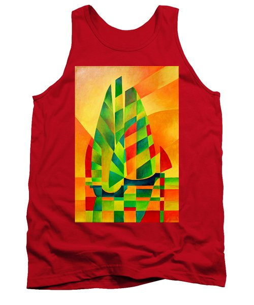 Tank Top featuring the painting Sunset Sails And Shadows by Tracey Harrington-Simpson