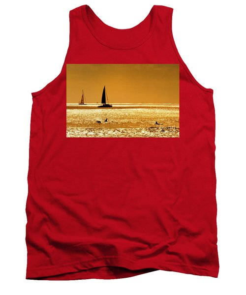 Tank Top featuring the photograph Surfers And Sailboats by Kristine Merc