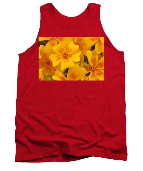 Tank Top featuring the photograph Tagette Marigold Blossoms Macro by Sandra Foster