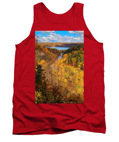 Tank Top featuring the photograph Taughannock River Canyon In Colorful Fall Ithaca New York by Paul Ge