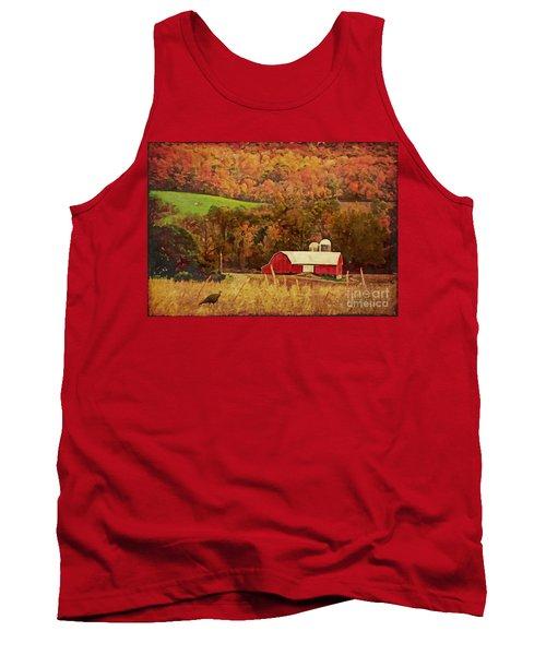Tank Top featuring the digital art The Autumn Barn by Lianne Schneider