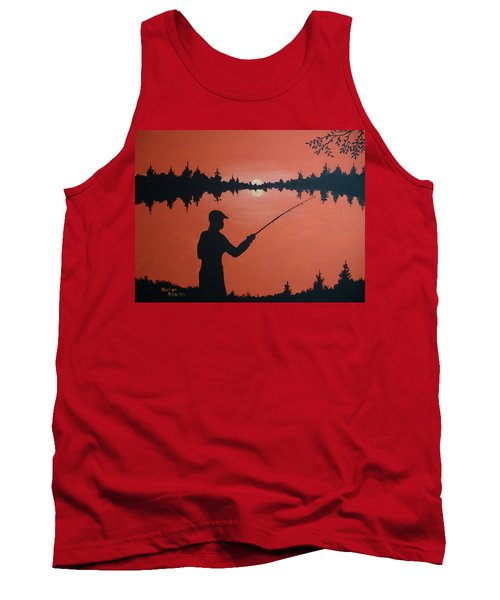 Tank Top featuring the painting The Golden Hour by Norm Starks