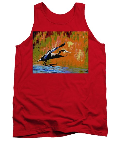 Tank Top featuring the photograph The Great Blue Heron Jumps To Flight by Tom Janca
