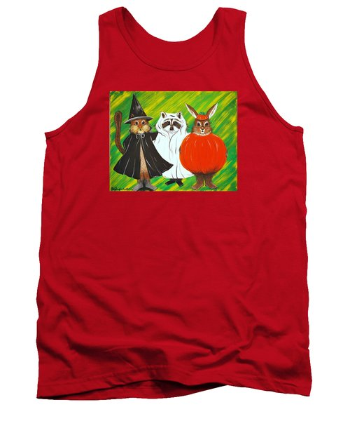 Tank Top featuring the painting The Halloween Gang by Jennifer Lake