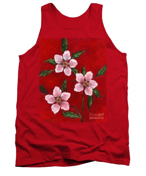Three Blossoms On Red Tank Top
