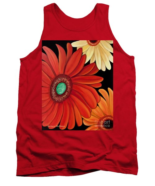 Tank Top featuring the painting Three Gerbera by Barbara McMahon