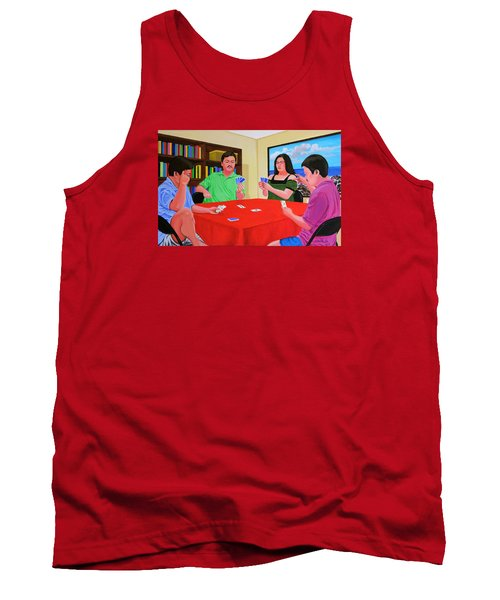 Tank Top featuring the painting Three Men And A Lady Playing Cards by Cyril Maza