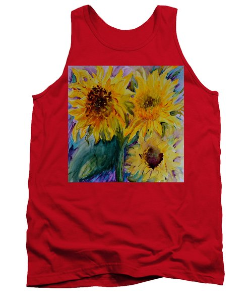 Tank Top featuring the painting Three Sunflowers by Beverley Harper Tinsley