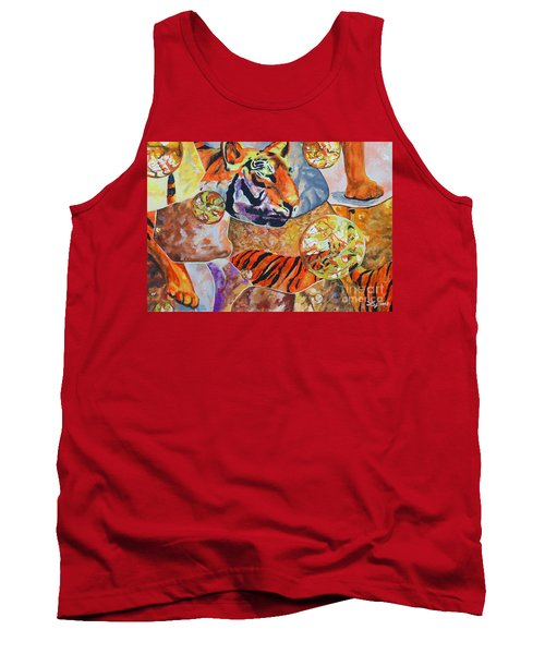 Tank Top featuring the painting Tiger Mosaic by Daniel Janda