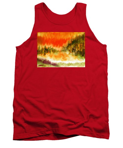 Tank Top featuring the mixed media Timber Blaze by Seth Weaver