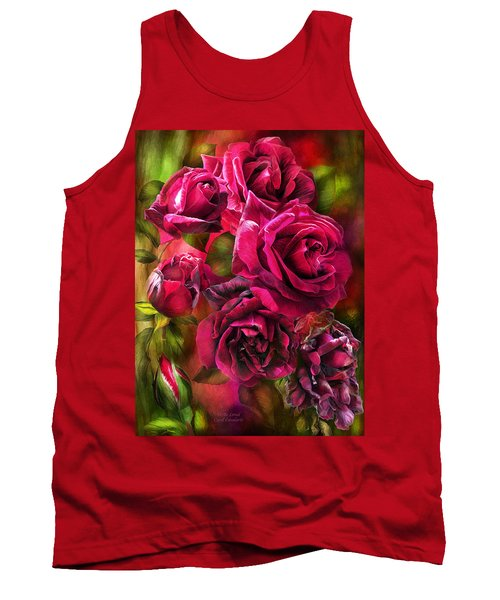 Tank Top featuring the mixed media To Be Loved - Red Rose by Carol Cavalaris