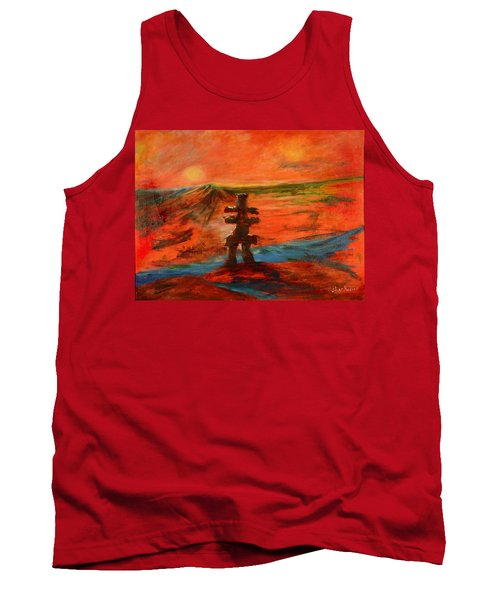 Tank Top featuring the painting Top Of The World by Sher Nasser