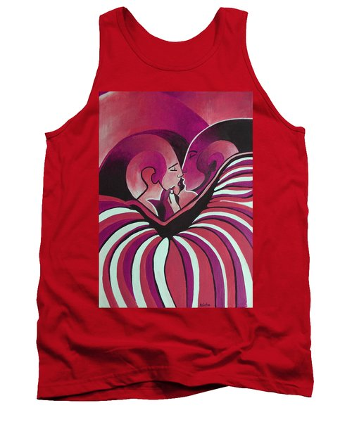 Tank Top featuring the painting Touched By Africa In  Red Hues by Tracey Harrington-Simpson
