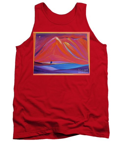 Tank Top featuring the painting Travelers Pink Mountains by First Star Art