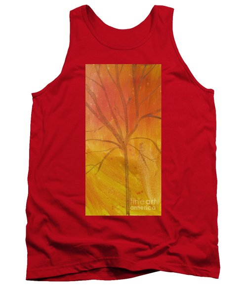 Tank Top featuring the painting Tree Of Three Gold by Robin Maria Pedrero
