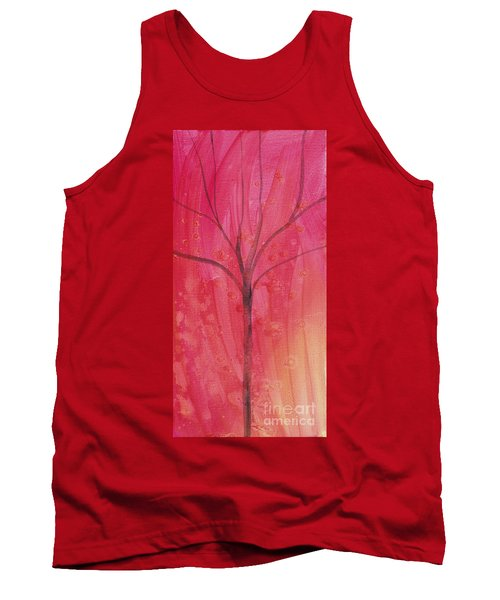 Tank Top featuring the painting Tree Of Three Pink by Robin Maria Pedrero