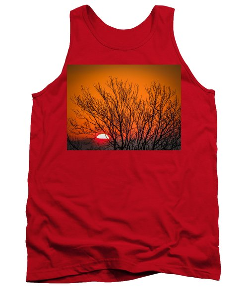 Tree Silhouetted By Irish Sunrise Tank Top