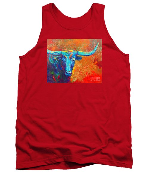 Tank Top featuring the painting Turquoise Longhorn by Karen Kennedy Chatham